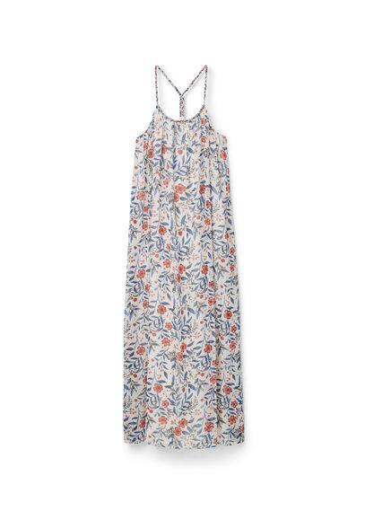 Robe Longue Florale - Tissu fluide, imprimé floral, col rond, bretelles tressées, bretelles croisées dans le dos, doublure.