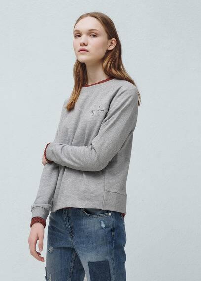 Cotton-blend message sweatshirt | MANGO