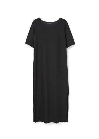 Robe Longue Rayures - Tissu texturé à rayures, superposition, col rond, manches courtes, fentes latérales à la base.