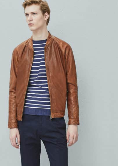 Leather bomber jacket | MANGO MAN