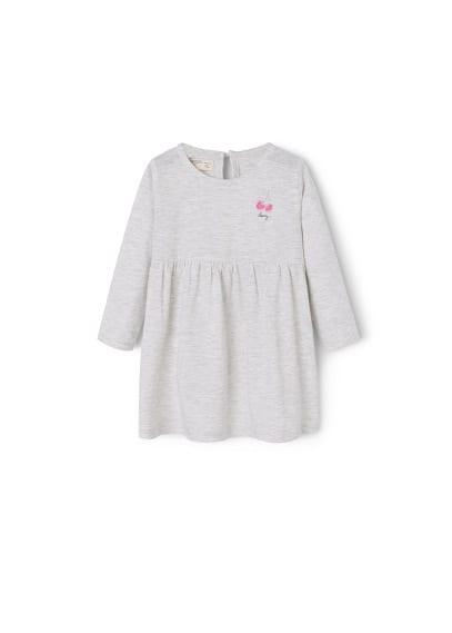 Robe Coton - Tissu en coton, col rond, manches longues, fermeture en goutte à l'arrière.