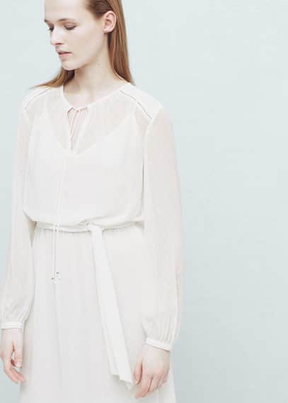 Vestido largo plumeti | MANGO
