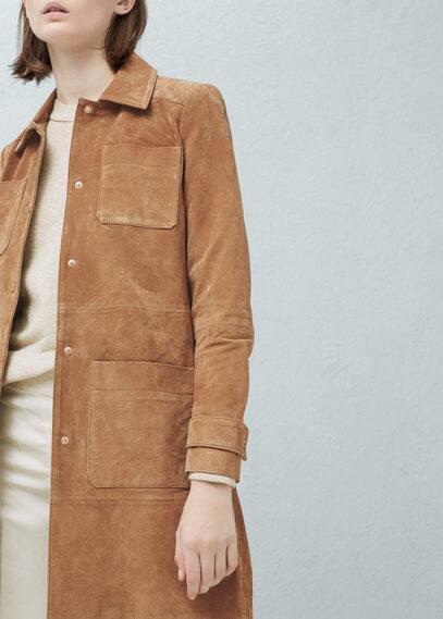 Замшевое пальто | MANGO
