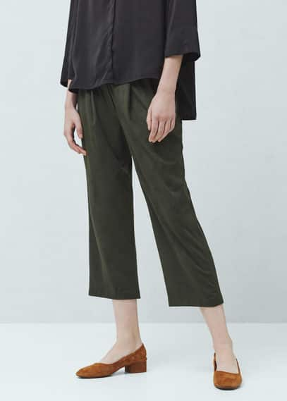 Textured crop trousers | MANGO