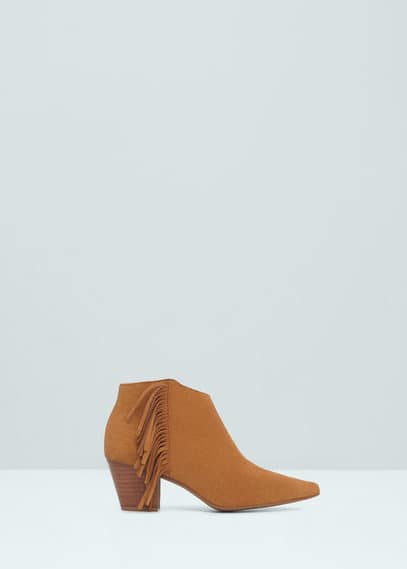 Fringed suede ankle boot | MANGO