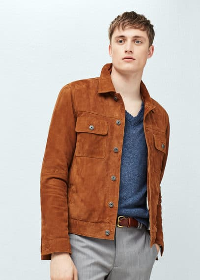 Flap-pocket suede jacket | MANGO MAN