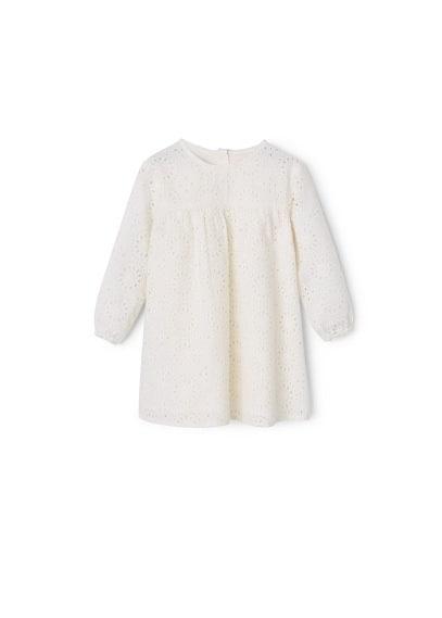 Robe Ajourée Coton - Tissu en coton, détails ajourés, détails brodés, col rond, manches longues avec poignets élastiques, fermeture boutonnée à l'arrière.
