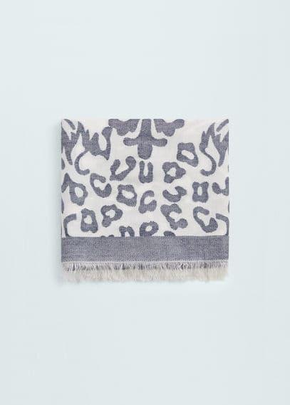 印花双色围巾 | MANGO