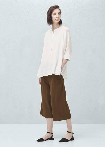 Pantalons palazzo crop | MANGO