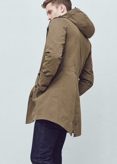 Incorporated-visor hooded parka | MANGO MAN