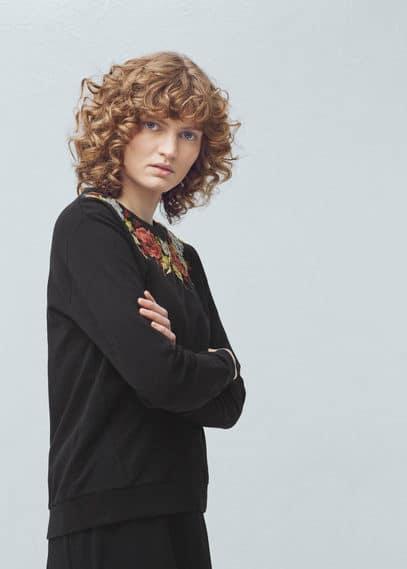 Sweater coton brodé | MANGO