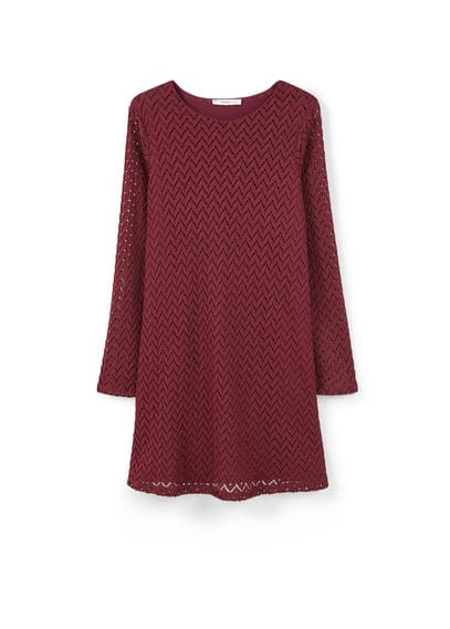 Robe Textur�e Zigzag - Tissu textur�, structure zigzag, ajour�, col rond, manches longues cloche, jupe �vas�e, doublure.