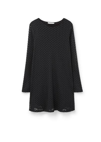 Robe Texturée Zigzag - Tissu texturé, structure zigzag, ajouré, col rond, manches longues cloche, jupe évasée, doublure.