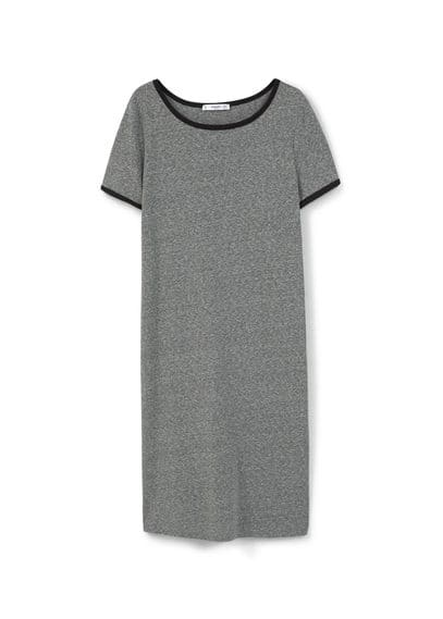 Robe Jaspée En Coton - Tissu de coton mélangé, jaspé, col rond, manches courtes, liserés contrastants.