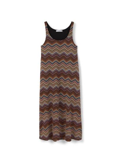 Robe Texturée Zigzag - Col rond, sans manches, doublure.