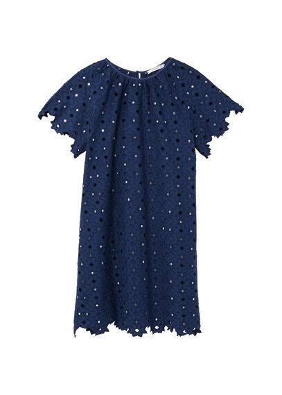 Robe Brodée Cristaux - Tissu en coton, Miroirs brodés, Tissu brodé, Col rond, Manches courtes, Fermeture en goutte à l'arrière