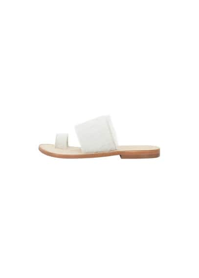 Premium - Sandales Cuir Fourrure - Ligne Premium, Tissu en fourrure, Double bride en cuir