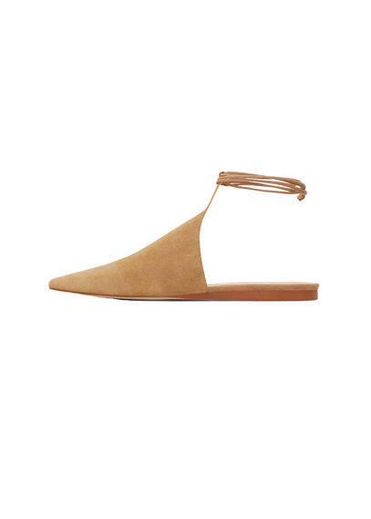 PREMIUM - Topuğu açık deri ayakkabı