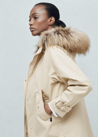 Faux fur hood coat | MANGO