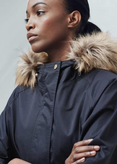 Faux fur hood coat | MANGO
