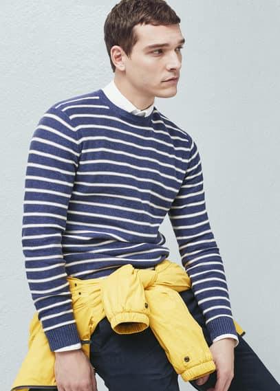 Джемпер с полосками, хлопок и лен | MANGO MAN