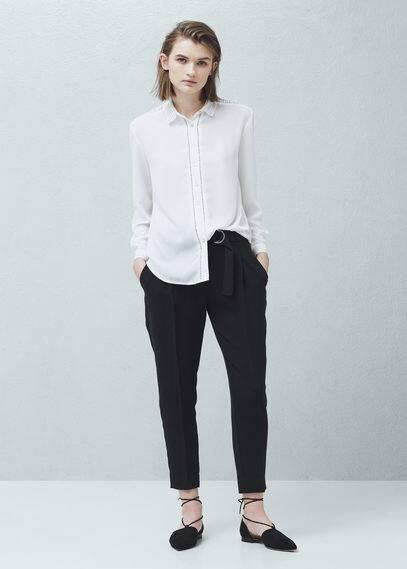 Camisa paneles crochet | MANGO