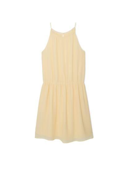 Robe Emmanchures Américaines - Tissu fluide, texturé, emmanchures américaines, taille élastique, fermeture en goutte à l'arrière, doublure.