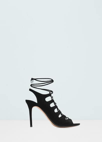 Slingback lace-up sandals | MANGO