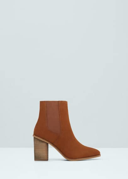 Heel suede ankle boot | MANGO