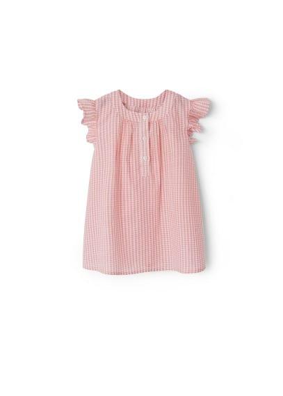 Robe Coton Imprimée - Tissu en coton, col rond, plis décoratifs sur le devant, fermeture boutonnée sur le devant, manches courtes, culotte élastiques.