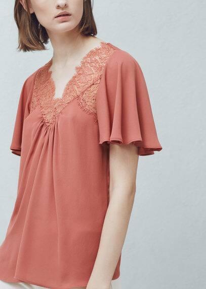 Lace panel blouse | MANGO