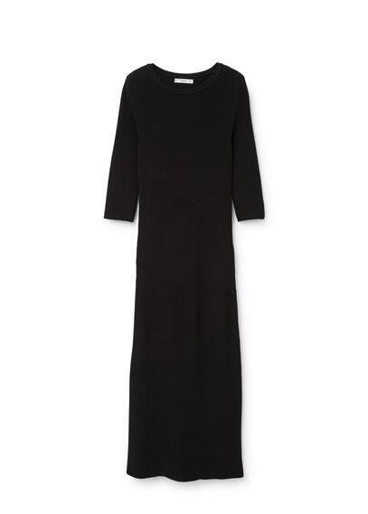 Robe Maille Nouée - Tissu en coton, maille côtelée, col rond, manches trois quarts, n?ud à la taille, fentes latérales à la base.
