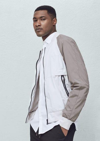 Bicolor bomber jacket | MANGO MAN
