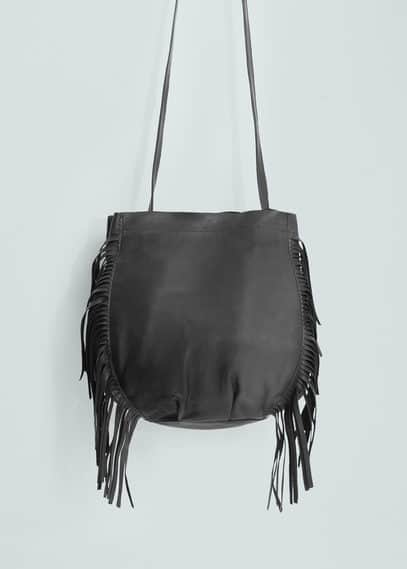 Fringe leather bag | MANGO