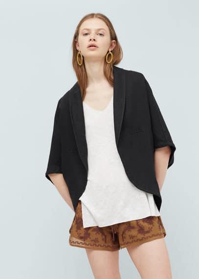 Embroidered linen-blend kimono | MANGO