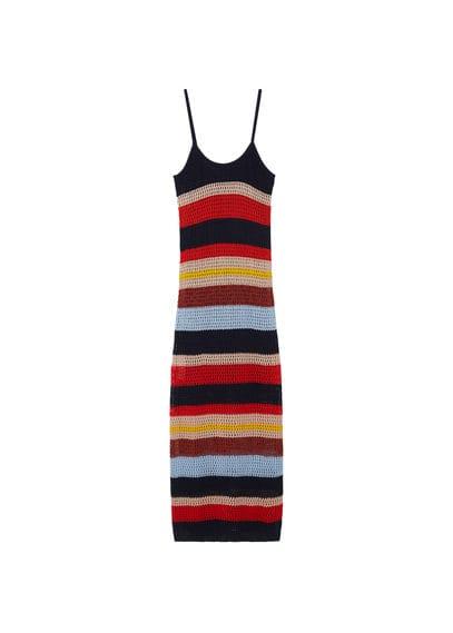 Robe Crochet Coton - Tissu de coton mélangé, tissu en crochet, motif à rayures, col rond, bretelles fines, fentes latérales à la base, doublure.