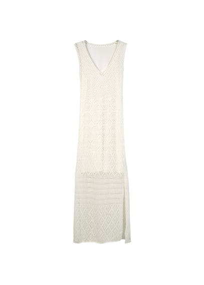 Robe Crochet Coton - Tissu de coton mélangé, tissu en crochet, bretelles larges, col en V, doublure.