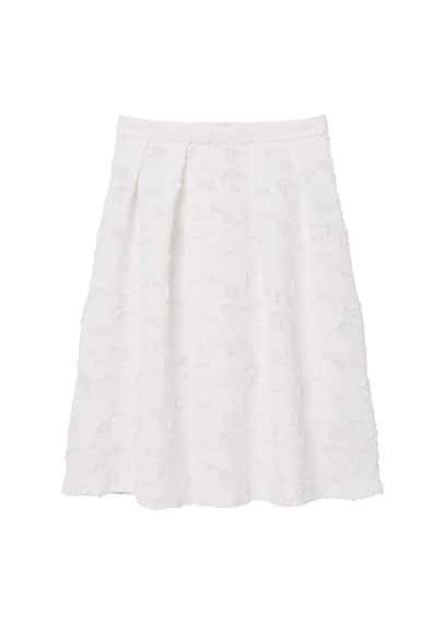 Jupe Midi Textur�e - Tissu textur�, Jupe �vas�e avec plis d�coratifs, Fermeture �clair lat�rale