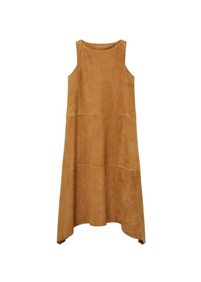 Premium - Robe Daim - Ligne Premium, Tissu en daim, Col rond, Coutures décoratives, Bas arrondi