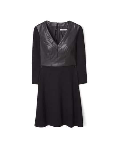 Robe Combinée - Col en V, manches longues, jupe évasée, fermeture Éclair invisible à l'arrière, doublure.