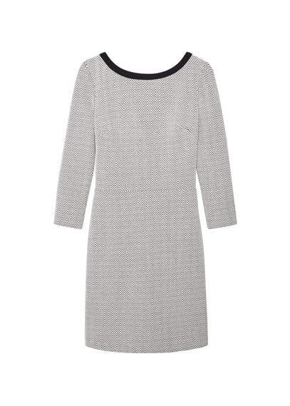 Robe Coton Texturé - Tissu de coton mélangé, col rond, manches trois quarts, fermeture Éclair à l'arrière, doublure.