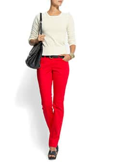 Straight leg low-waist trousers