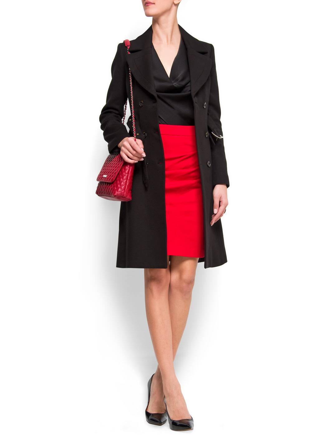 Straight-cut draped skirt | MANGO