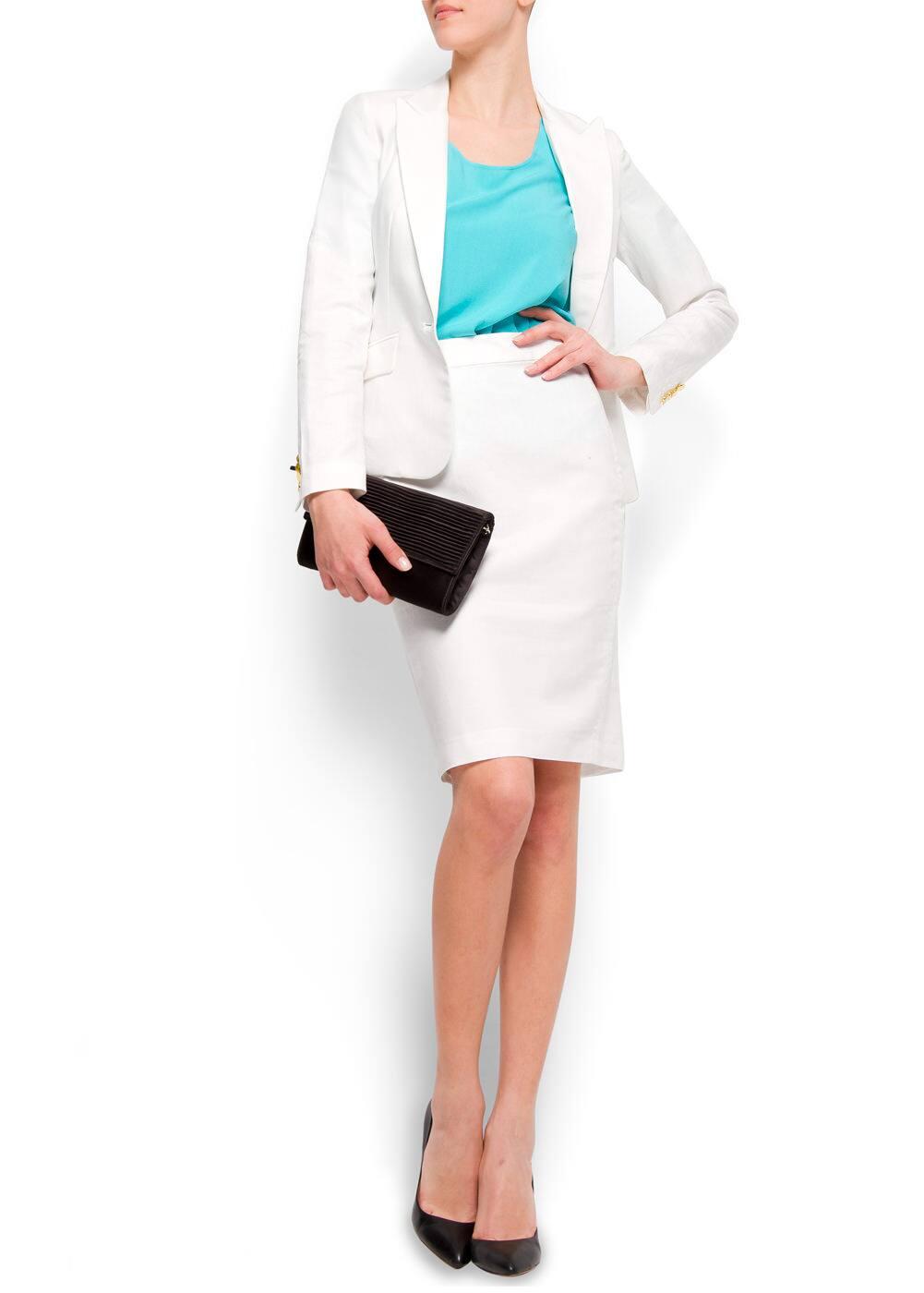 Linen cotton straight-cut skirt | MANGO