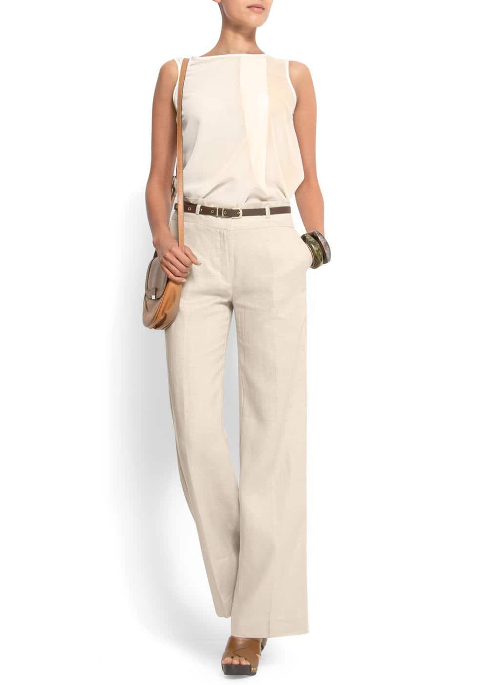 Wide-leg linen trousers | MANGO