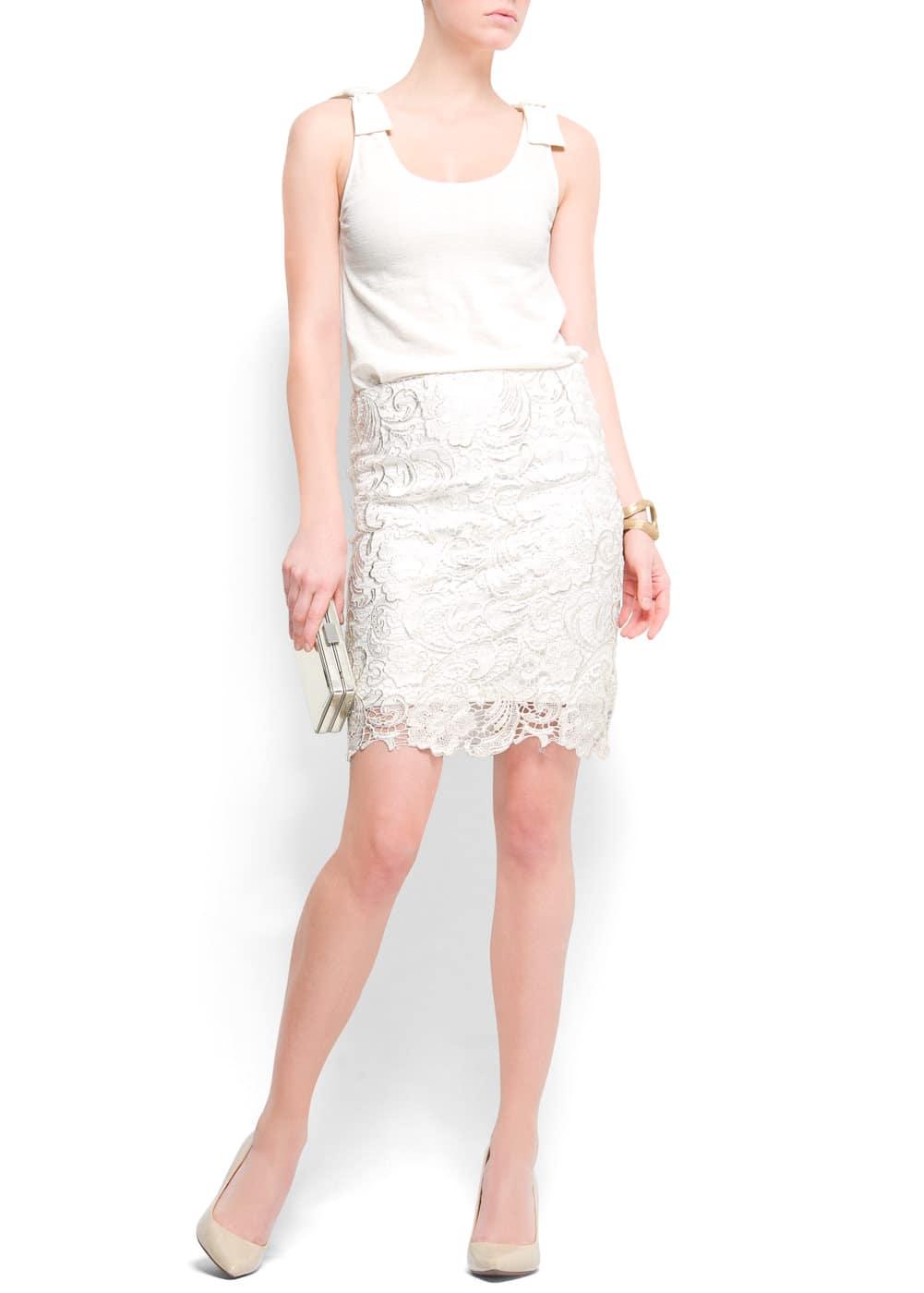 Laced pencil skirt | MANGO