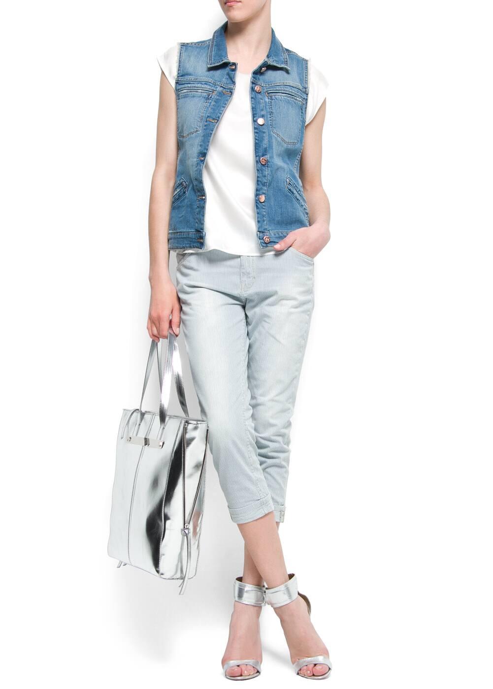 Striped capri trousers | MANGO