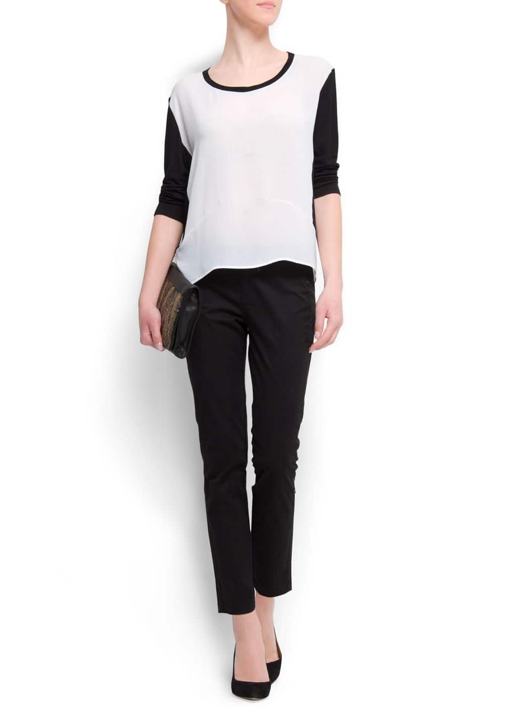 Two-tone sheer t-shirt | MANGO