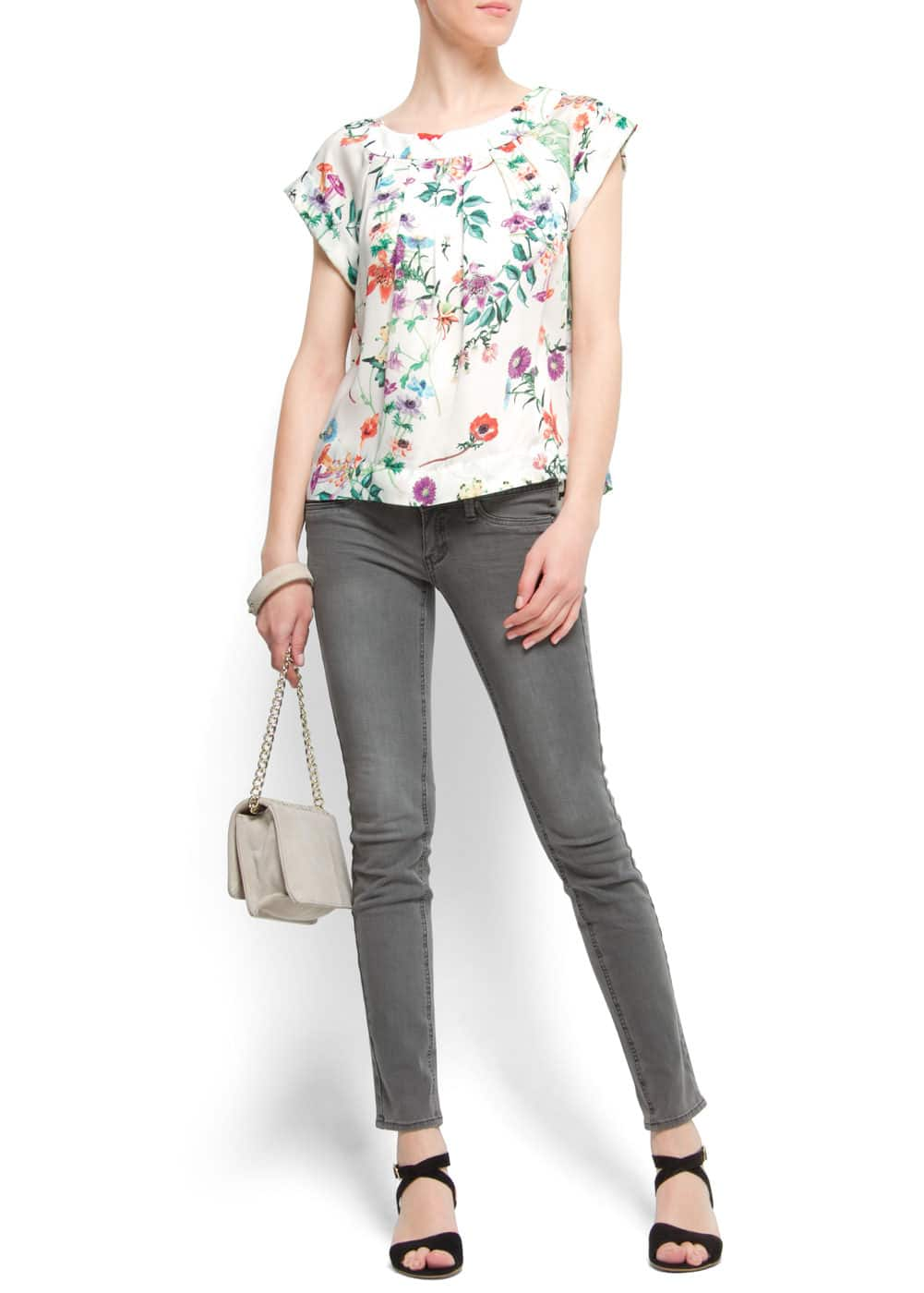 Floral print pleated blouse | MANGO