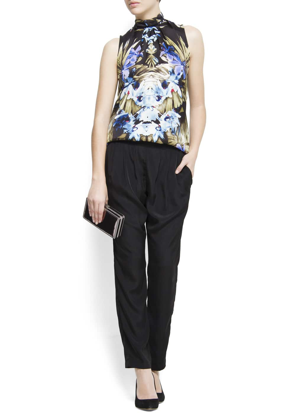 Relaxed-fit zip closure trousers | MANGO